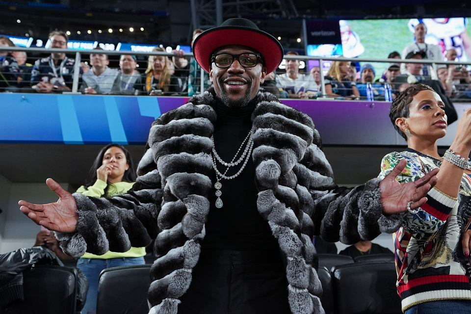 Floyd Mayweather Jr. podczas Super Bowl 2018. U.S. Bank Stadium, Minneapolis, 4 lutego 2018