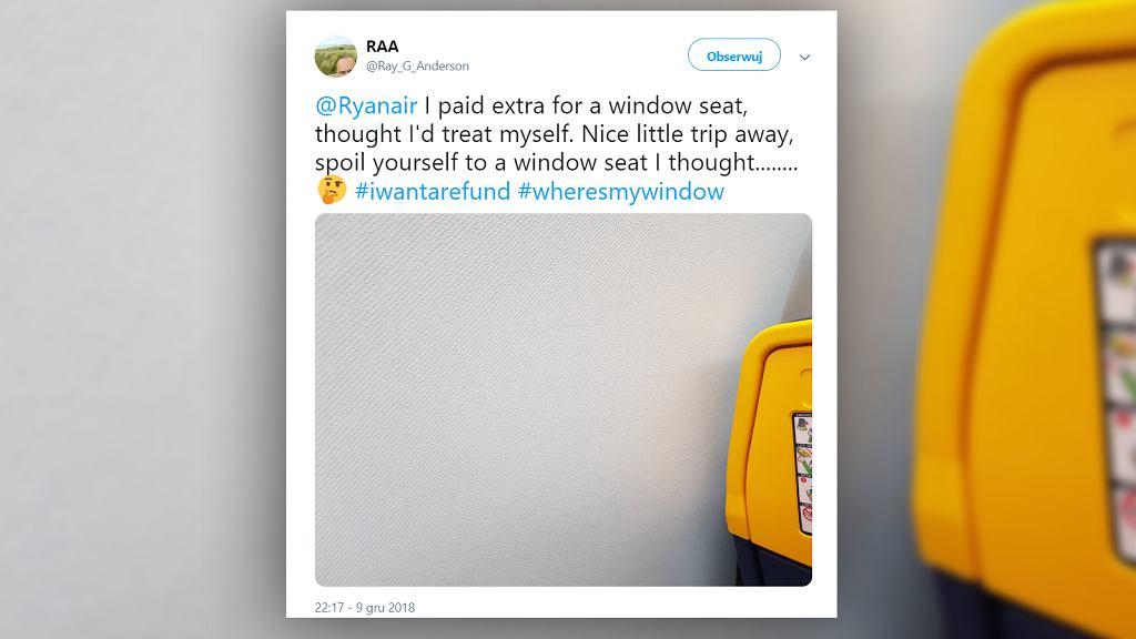 Pasażer Ryanair dostał miejsce bez okna