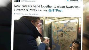 Nowojorczycy czyszczą wagon metra