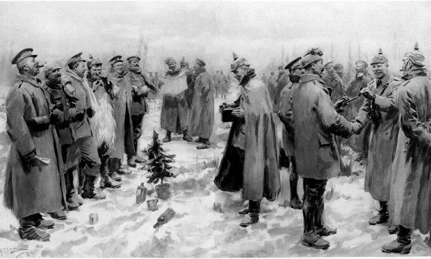 Belgia, 25 grudnia 1914 r. Ilustracja przedstawiająca niemiecko-brytyjski rozejm bożonarodzeniowy, który stał się jednym z bardziej znanych i owianych legendą epizodów I wojny. Jednym z artystów, który uwiecznił to wydarzenie (w piosence ''Pipes of Peace''), jest Paul McCartney.