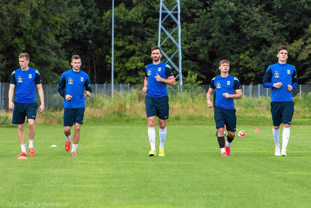 Ostatni trening Lecha Poznań przed meczem z FC Basel. Tomasz Kędziora, Denis Thomalla, Maciej Wilusz, Karol Linetty, David Holman