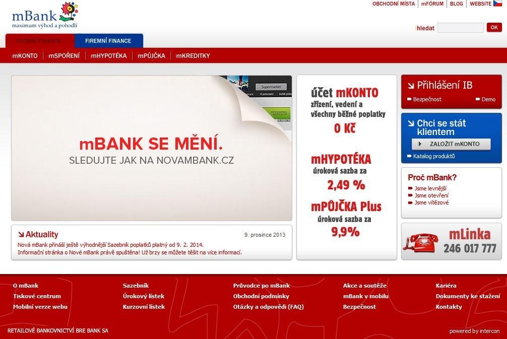 Strona czeskiego mBanku