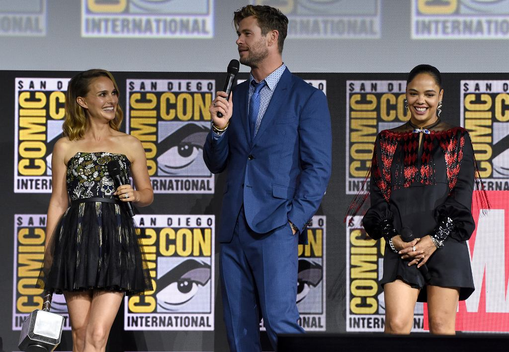 Natalie Portman, Chris Hemsworth i Tessa Thompson w czasie San Diego Comic-Con. 2019 Comic-Con - Marvel Studios