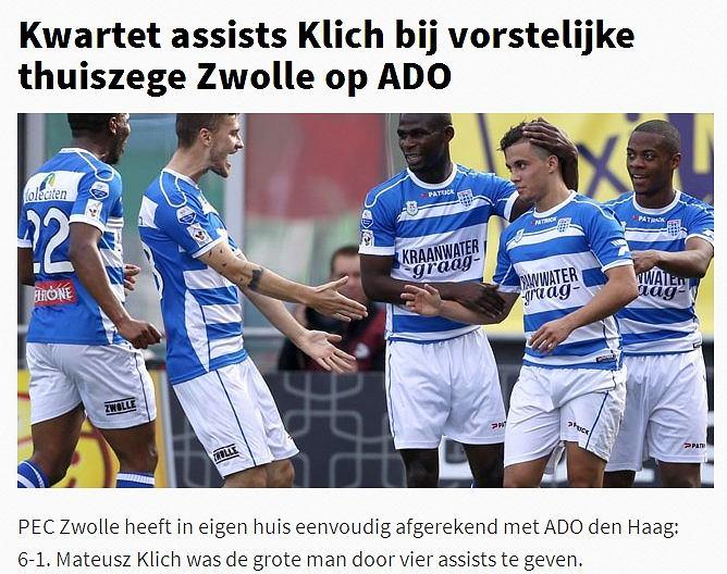 Mateusz Klich doceniony przez serwis Voetbal International. Ostatnio cztery asysty w lidze holenderskiej zanotował w 2011 roku Luciano Narsingh z Heerenveen