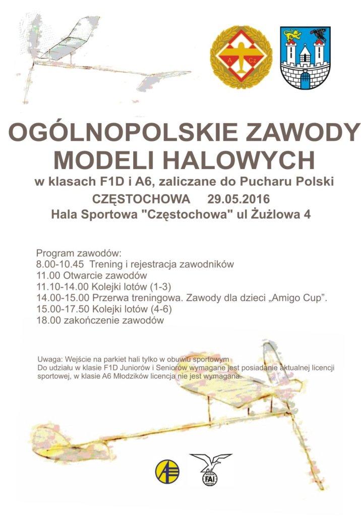 Zaproszenie na zawody modelarskie do Hali Sportowej Częstochowa