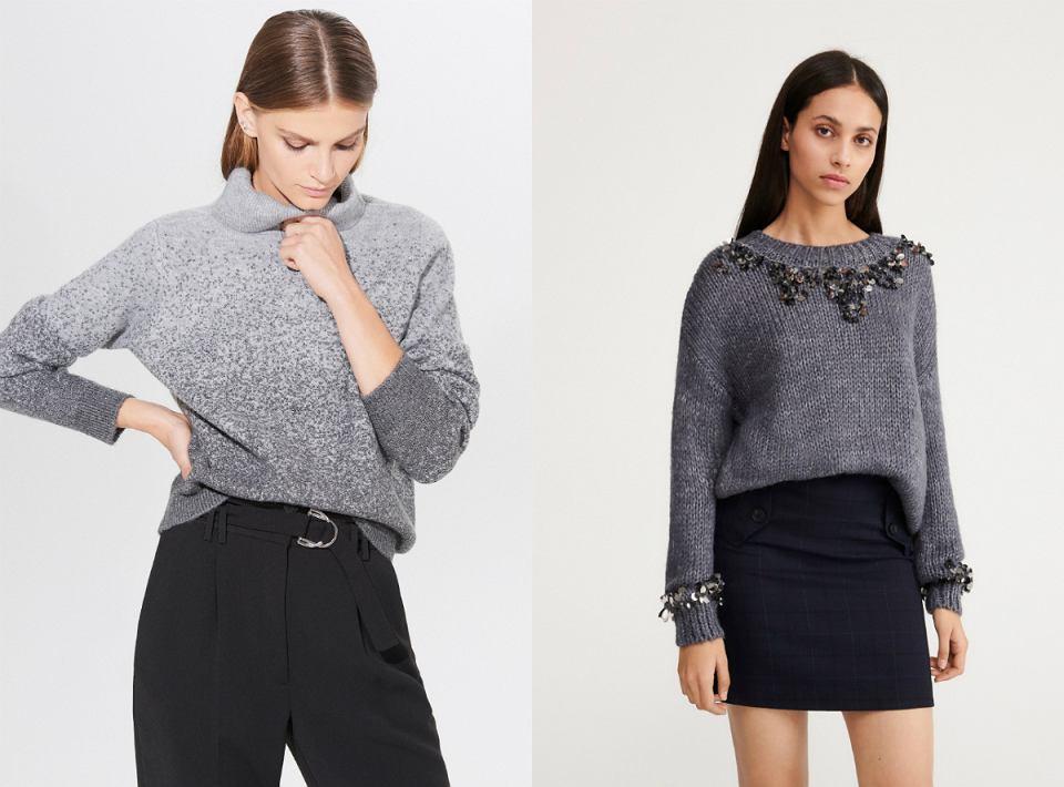 szare swetry na zimę