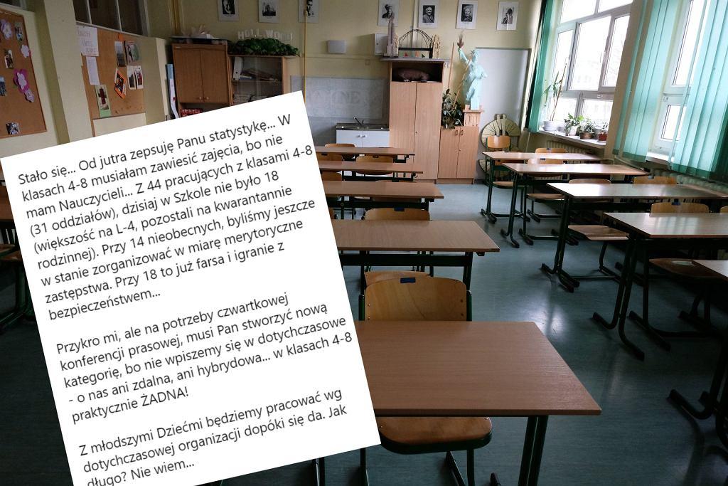 Dyrektorka o brakach kadrowych i problemach w szkołach spowodowanych pandemią