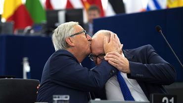 Jean-Claude Juncker i Frans Timmermans. Strasburg, 13 września 2017