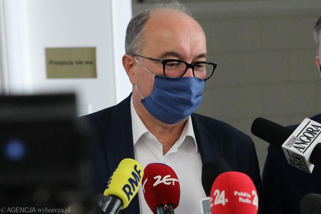 Szef SLD Włodzimierz Czarzasty podczas konferencji prasowej. 21 Posiedzenie Sejmu X Kadencji. Warszawa, 19 listopada 2020