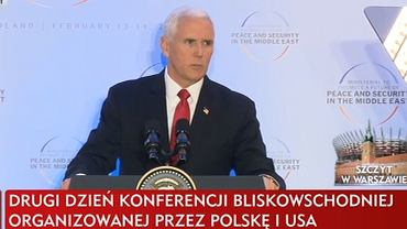 Mike Pence na konferencji w Warszawie