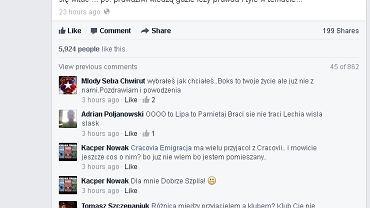 Wpis Artura Szpilki na Facebooku