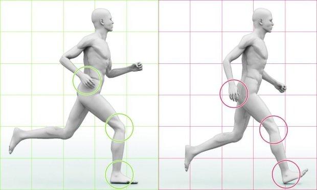 DOBRY KROK (z lewej) - kolano przy uderzeniu o podłoże jest zgięte, a łydka ustawiona prostopadle do ziemi; - stopa ląduje płasko; - ramiona nie przekraczają pasa; ZŁY KROK (z prawej) -  kolano przy lądowaniu na ziemi jest wyprostowane (wstrząs zamiast amortyzacji), pięta przyjmuje całe uderzenie, palce stopy są zadarte do góry (to hamowanie z szarpnięciem całej nogi); - ramiona nie wspomagają kroku, są zbyt nisko