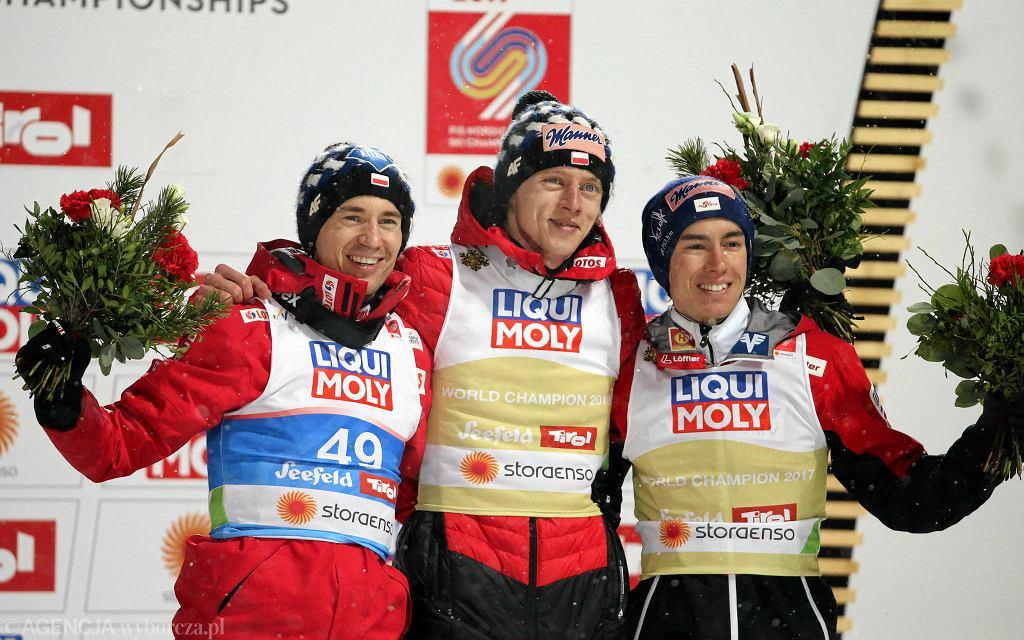 Mistrzostwa świata w Seefeld 2019. Kamil Stoch, Dawid Kubacki i Stefan Kraft