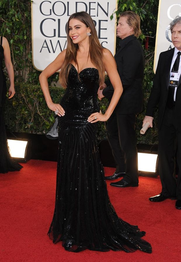 Actress Sof?a Vergara arrives at the 70th Annual Golden Globe Awards at the Beverly Hilton Hotel on Sunday Jan. 13, 2013, in Beverly Hills, Calif. (Photo by Jordan Strauss/Invision/AP)