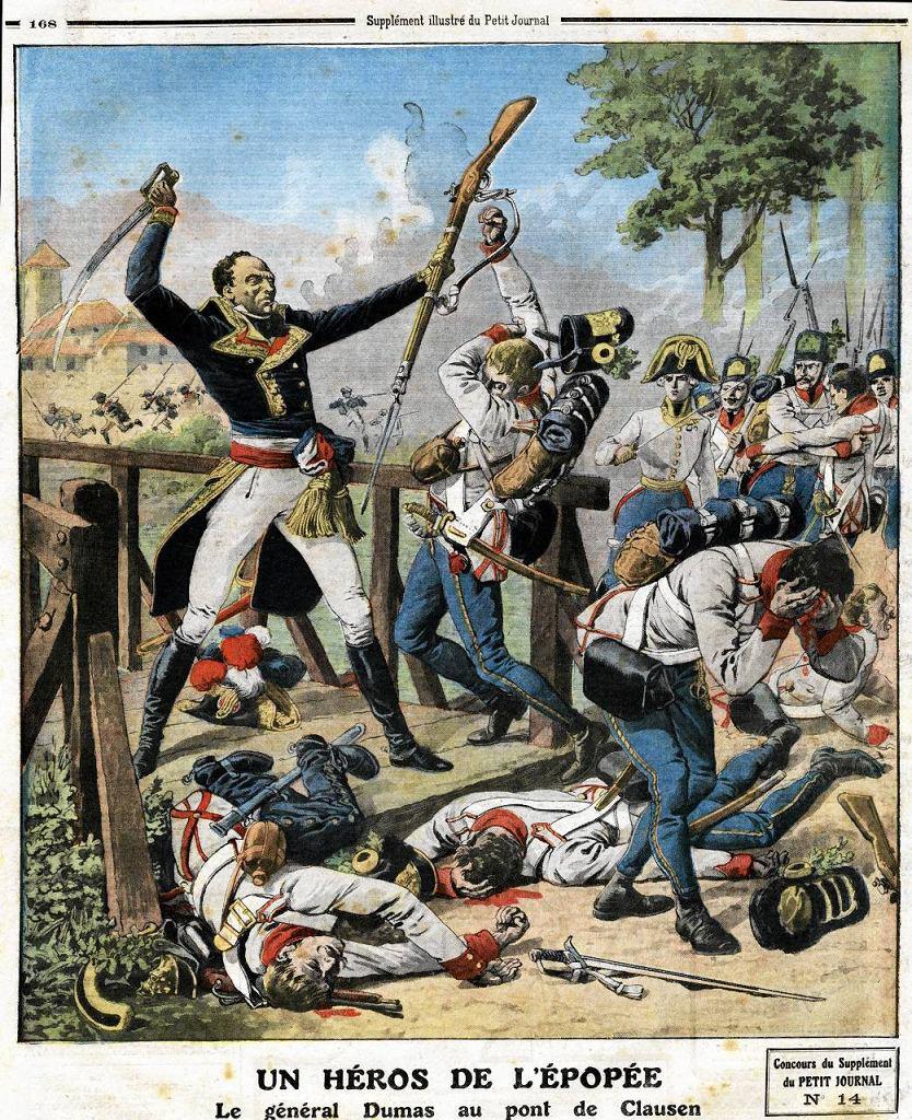 Generał Thomas Alexandre Davy de la Pailleterie, czyli Thomas-Alexandre Dumas (1762-1806), odpiera atak Austriaków na moście Clausen w Tyrol, 17 stycznia 1797 r. Ilustracja z francuskiej gazety
