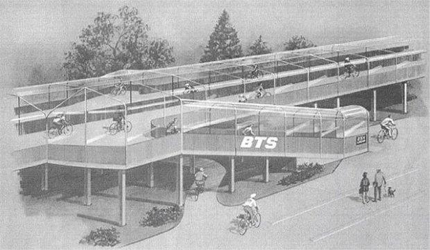 Wizualizacja drogi rowerowej na estakadzie. Holandia, lata 50-te.
