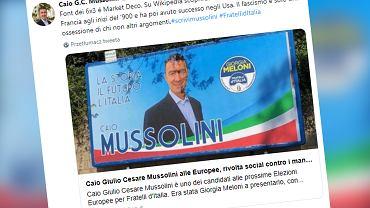Włochy. Caio Mussolini, prawnuk faszystowskiego przywódcy, startuje w eurowyborach