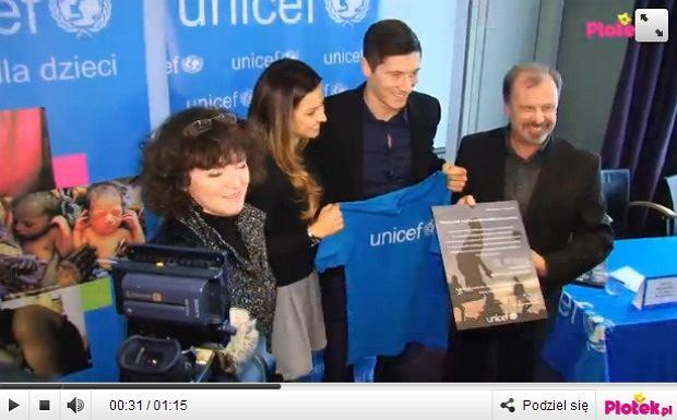 Ania i Robert Lewandowscy na konferencji UNICEFU