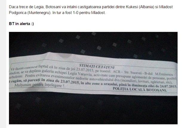 Ostrzeżenie rumuńskiej policji przed kibicami Legii.