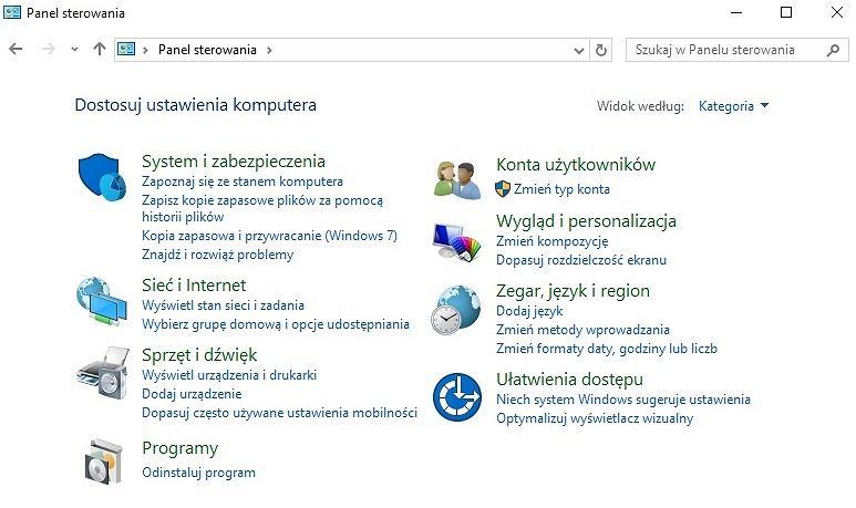 Panel Sterowania w Windows 10