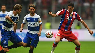 Robert Lewandowski w meczu z Duisburgiem