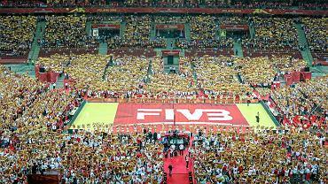 Stadion Narodowy. Mistrzostwa świata w siatkówce mężczyzn. Ceremonia otwarcia. pełny i prezentował się imponująco