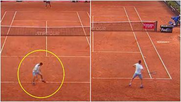 Hubert Hurkacz zachwycił w jednej z akcji meczu I rundy turnieju WTA w Rzymie - zagrał 'hot-doga', a później efektownym, silnym uderzeniem zakończył wymianę