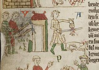 XIV-wieczna ilustracja zapisu Zwierciadła Saskiego, każącego zabijać zwierzęta, które byłyby świadkami gwałtu zadanego kobiecie i nie ruszyłyby jej z pomocą.