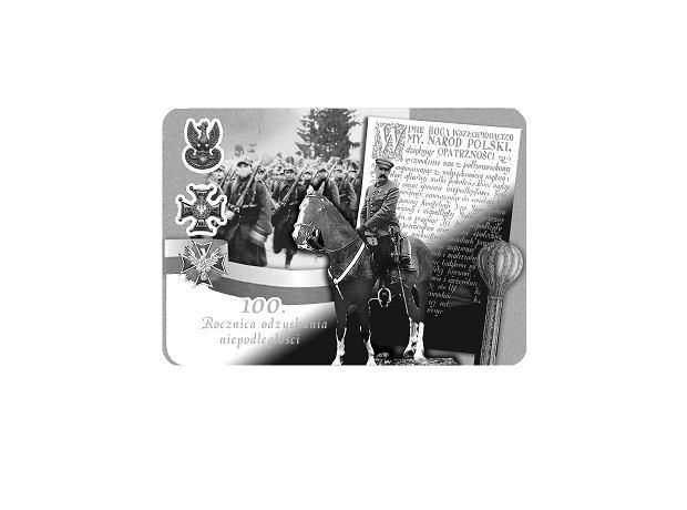 Wizualizacja monety 'Józef Piłsudski - 100 lat odzyskania niepodległości'