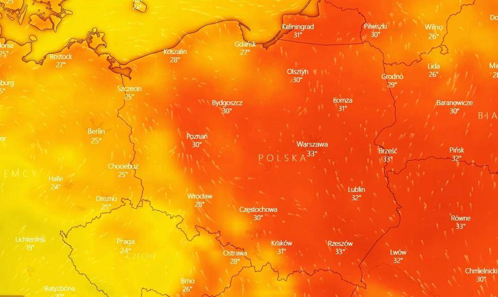 Mapa temperatur na 14 lipca 2021.