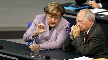 Kanclerz Niemiec Angela Merkel i minister finansów Niemiec Wolfgang Schaeuble podczas debaty budżetowej