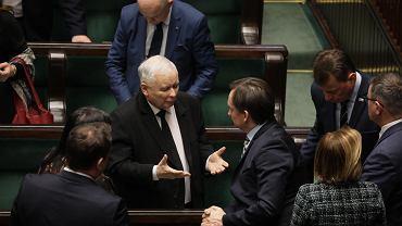 Jarosław Kaczyński i Zbigniew Ziobro w Sejmie.