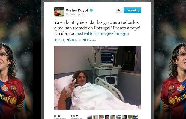 Carles Puyol twittuje ze szpitala