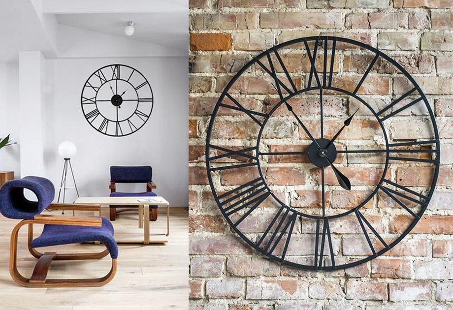 Duży zegar ścienny w stylu retro