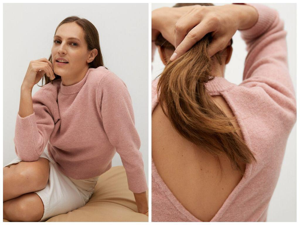 Różowy sweter z wyprzedaży Mango