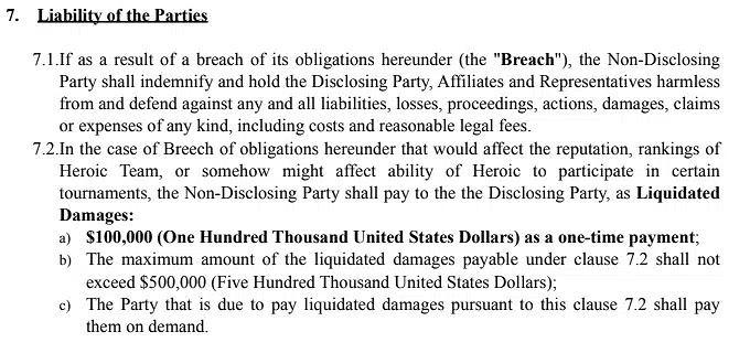 Fragment umowy o zachowaniu poufności spisanej przez Heroic.