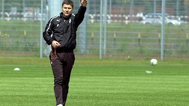 Trening Lecha Poznań. Drugi trener Jerzy Cyrak