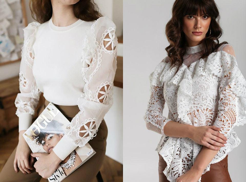 białe bluzki z ozdobnymi rękawami