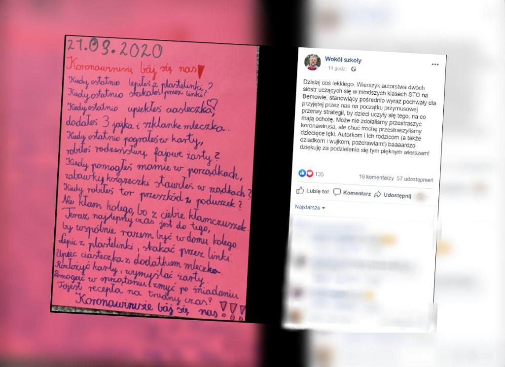 Uczennice z Bemowa napisały wiersz o koronawirusie