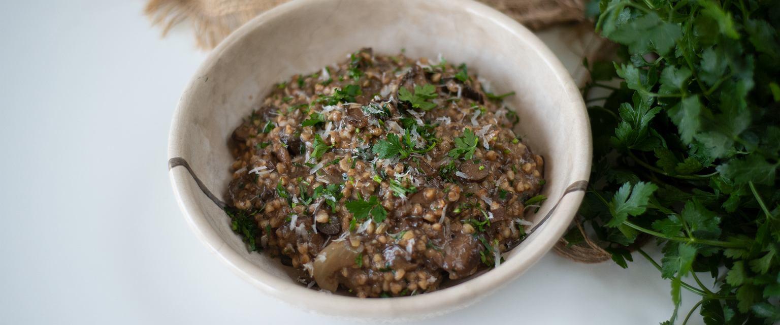 Kaszotto z kaszy gryczanej z grzybami