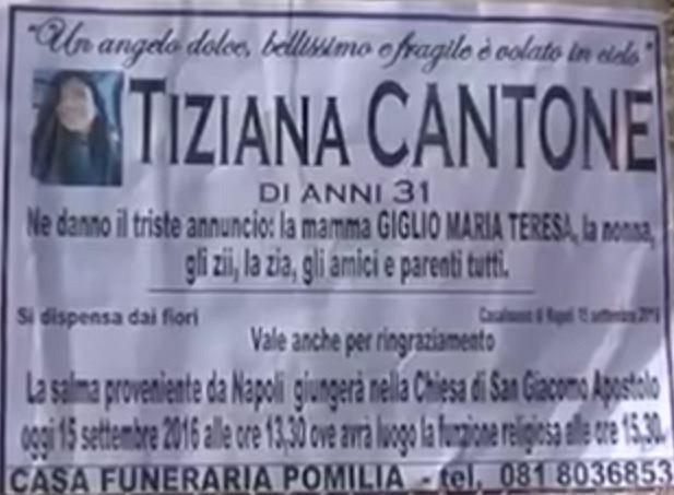 Nekrolog Taziany Cantone i zawiadomienie o jej pogrzebie