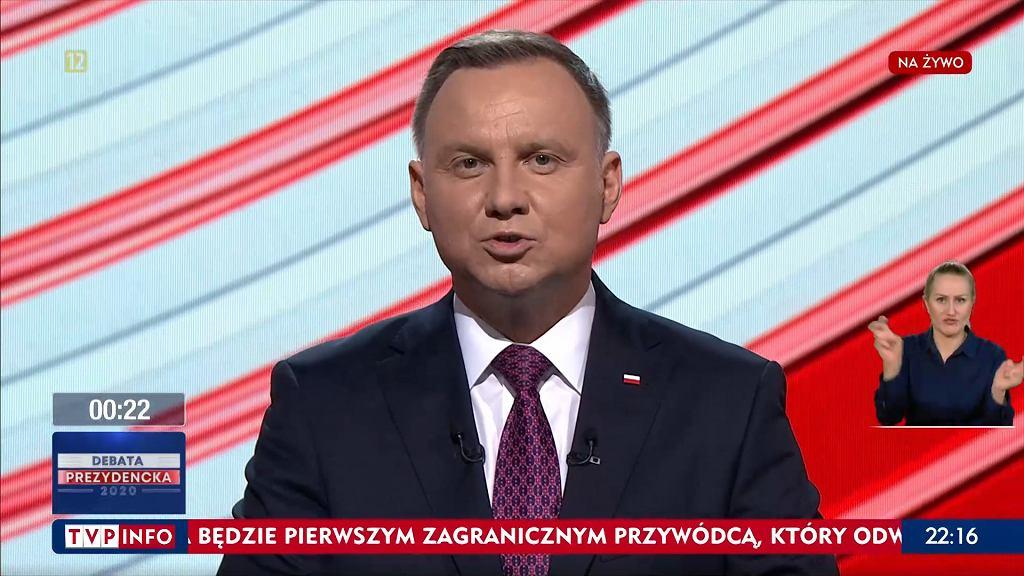 Andrzej Duda podczas Debaty Prezydenckiej w TVP