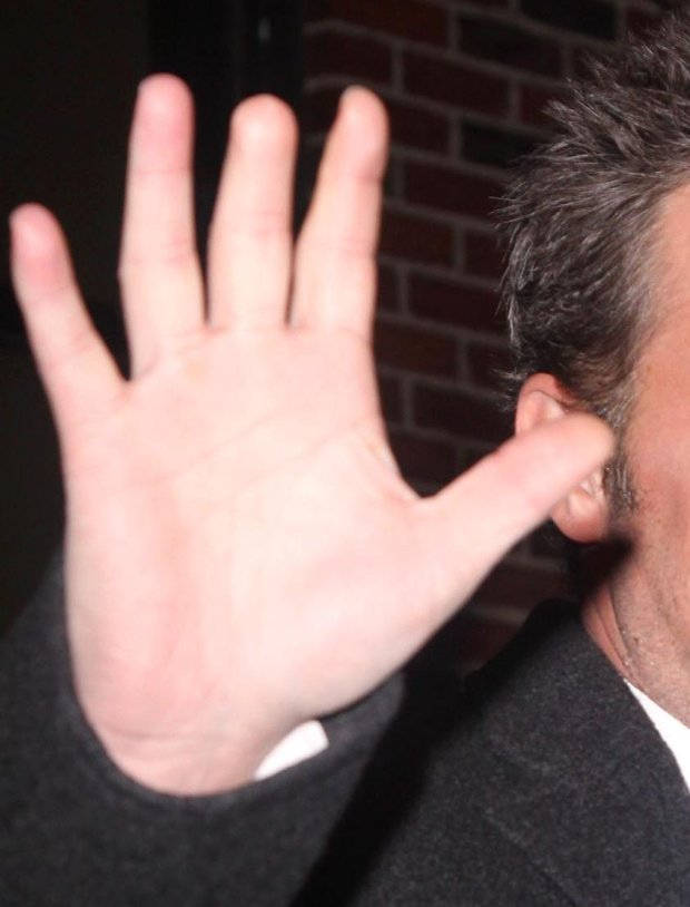 New York, February 1st 2011, MATTHEW PERRY is all smiles while making an appearance at the Late Show in Manhattan, NYC.