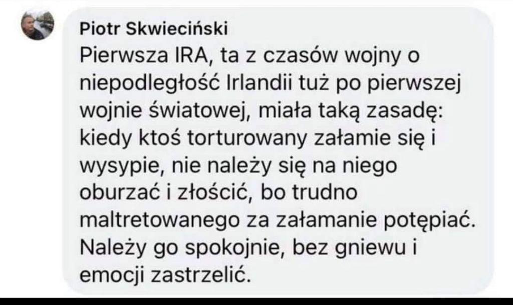 Wpis Skwiecińskiego pod postem Romaszewskiej. Później został usunięty przez Facebook jako naruszający standardy.