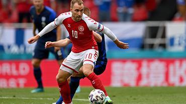 Christian Eriksen w meczu: Dania - Finlandia podczas Euro 2020.