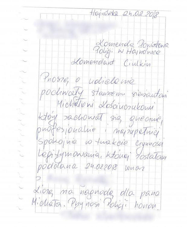 List z prośbą o pochwałę dla policjanta z Hajnówki