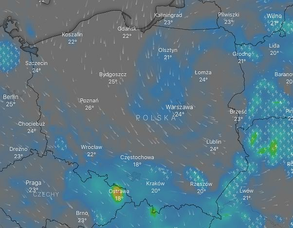 Alert drugiego stopnia dla wschodniej i część południowej Polski/ fot. windy.com