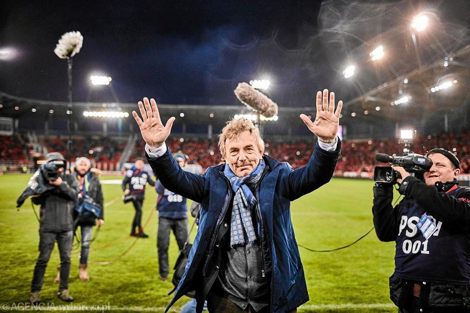 Zbigniew Boniek na stadionie Widzewa