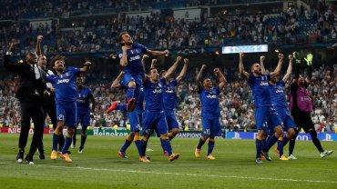 Real - Juventus 1:1. Radość piłkarzy Juventusu Turyn