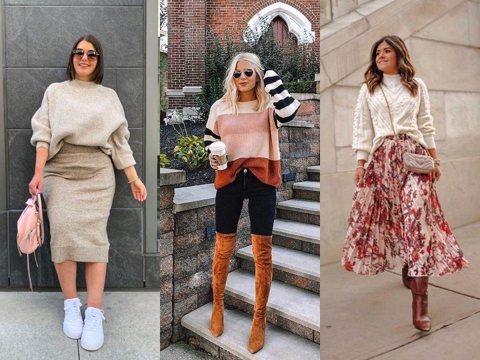 Jesienne stylizacje ze swetrem